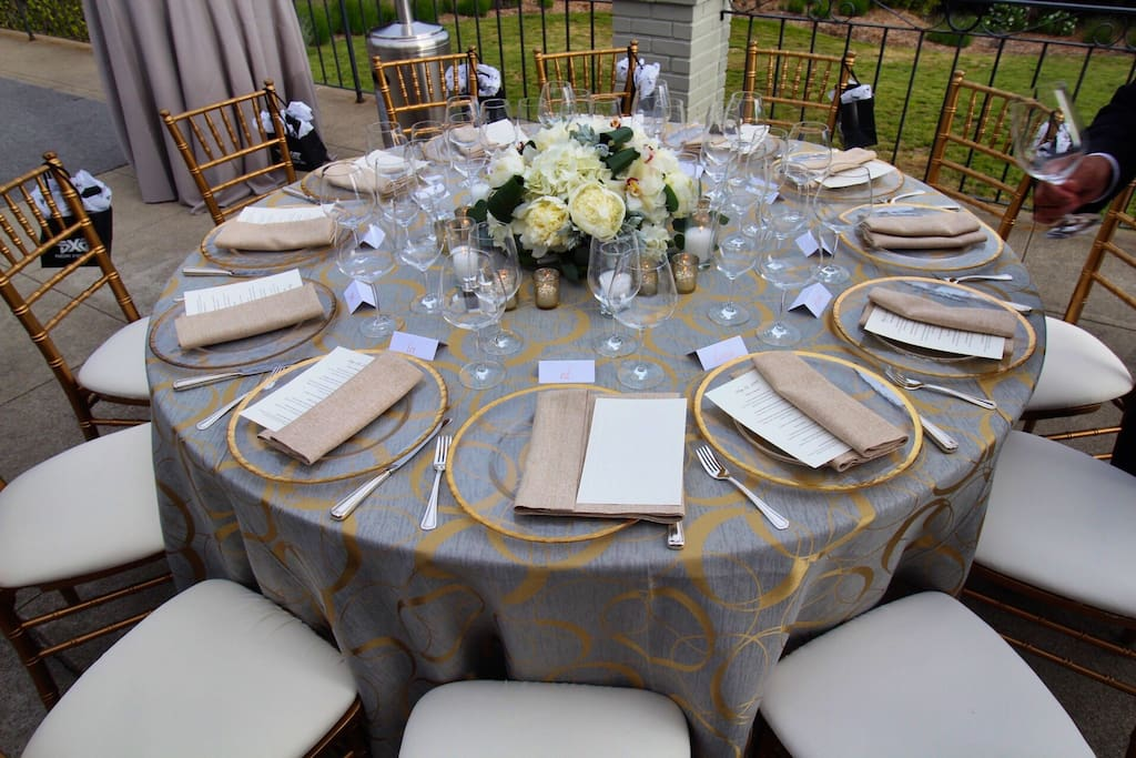 dinner set-up on patio