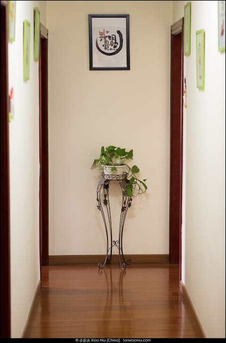 our corridor gallery with the Logo of my own Buddhist website in the end
