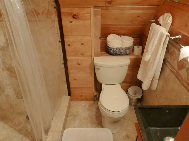 Marble and Pine bathroom