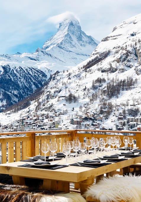 Wonderful terrace with view of the Matterhorn