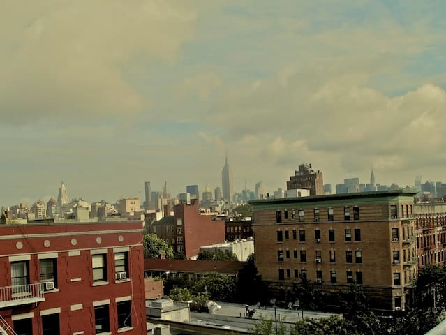 View from the accessible roof.  Looking north.  Empire State and Chrystler Building!