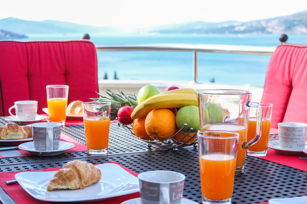 Enjoy your breakfast while watching the sea