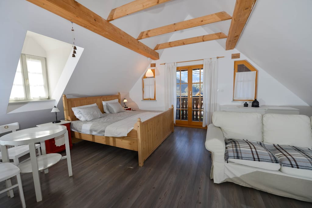 Plenty of living space and a balcony with views of the Julian Alps.