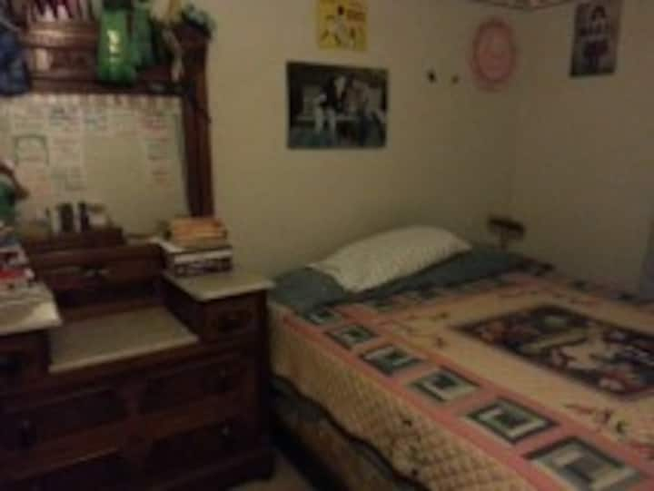 Large, comfy room in large house. Queen bed.