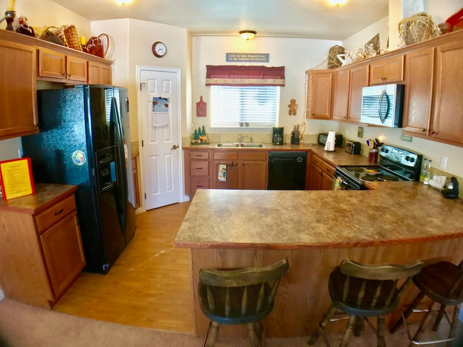 Fully appointed kitchen with dishes, pots and utensils.  Just bring your food!