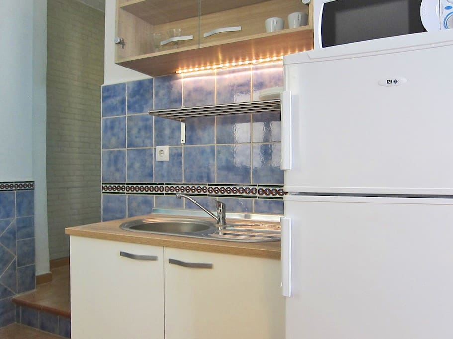 Kitchenette includes, full fridge, microwave oven, American coffeemaker, sink, and essentials.