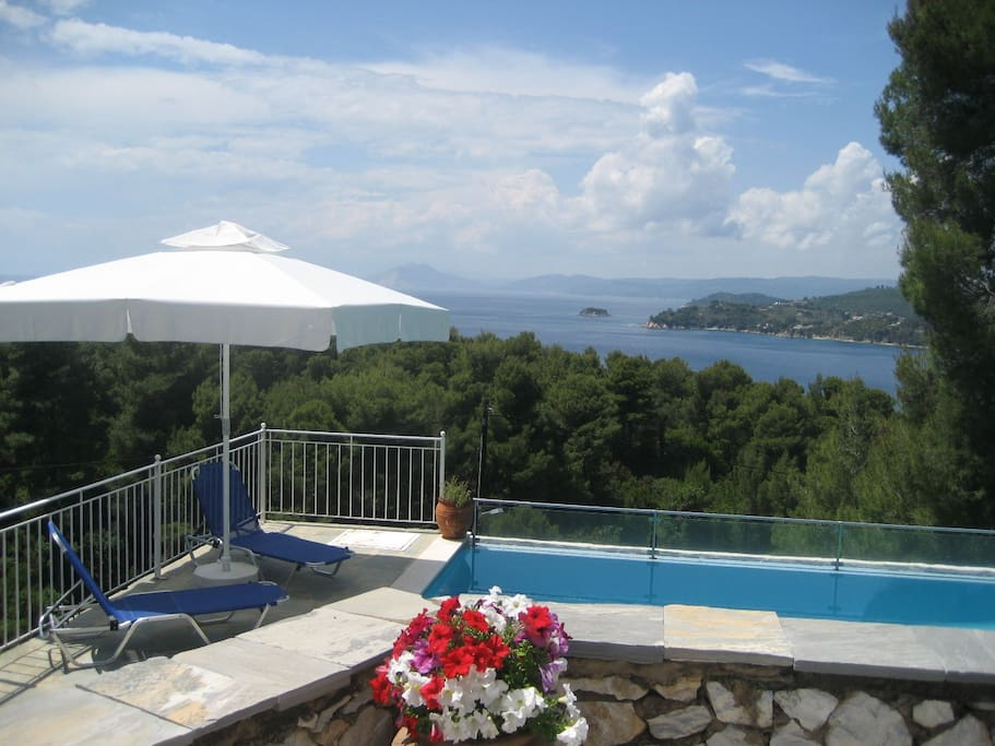Large Terrace View on Pool and Kolios Bay