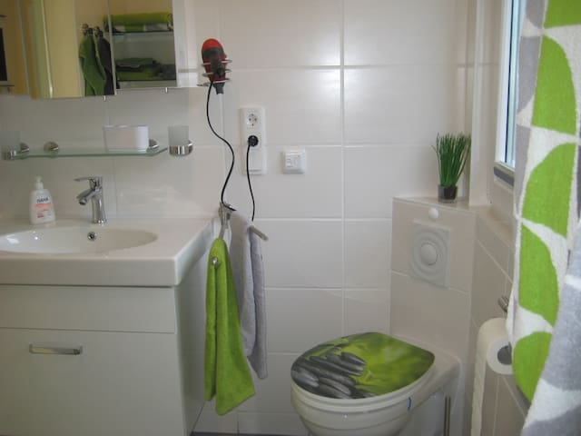 Waschtischkonsole, Spiegelschrank und WC