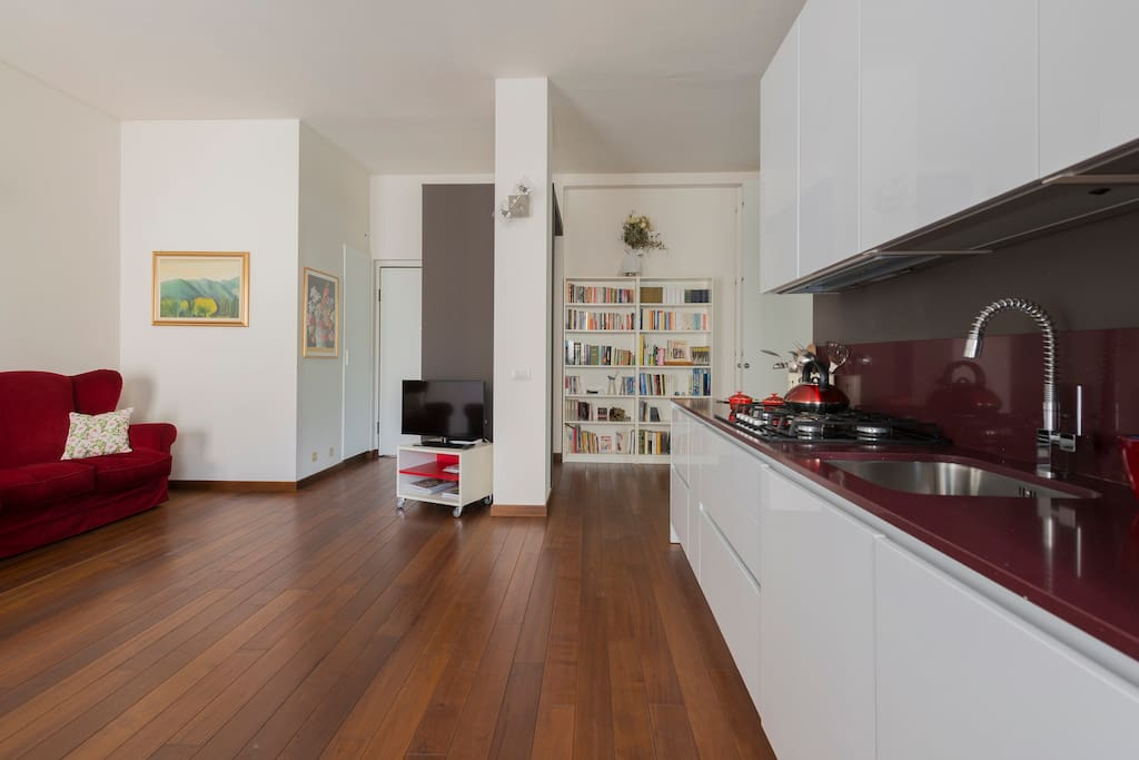 open space: kitchen and living room