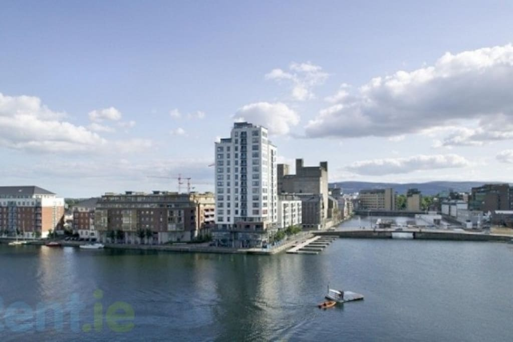 View of Grand Canal Dock from the balcony.