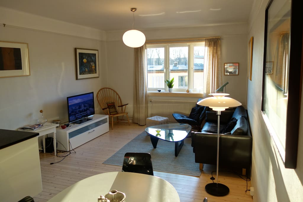 The apartment has two bedrooms and a large combined kitchen & living room