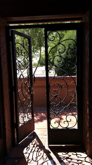 Custom made, wrought iron gates for added security..