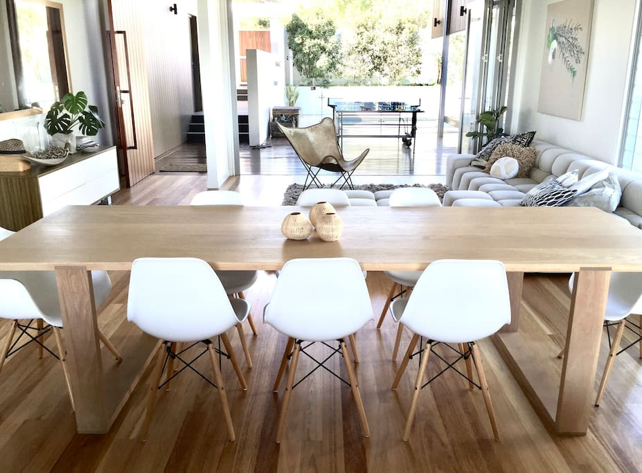 Oak Dining table with seating for 8