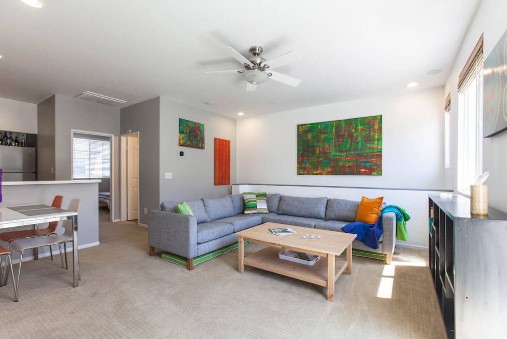 Modern Living Room - Large Couch - New Wood Floors