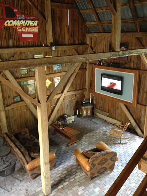 Main floor of the barn, fit with a flat screen television