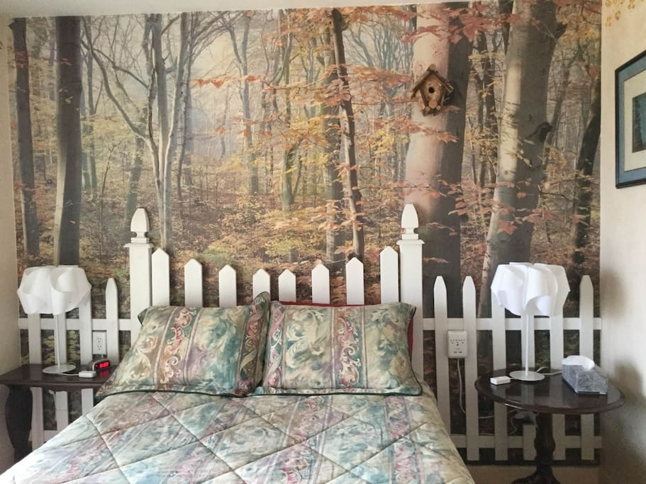 This is the Cottage Room that has a picture window wall overlooking our forest.  This room has a private entrance. It has a comfortable full bed and a private bathroom.