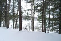 Winter view deck facing lake. Good ice fishing.