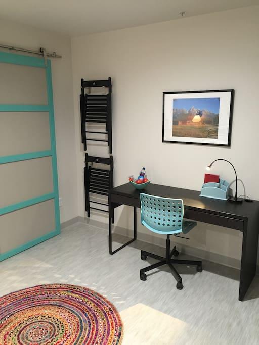 Roomy desk/workspace with free wifi