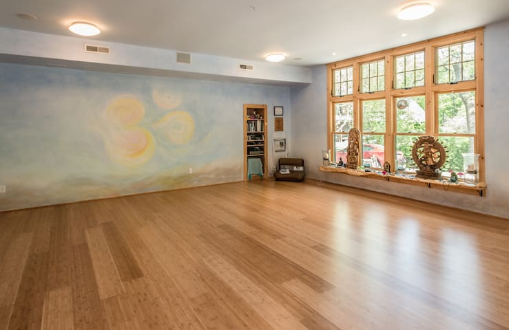 Sun drenched Yoga Studio below apt that can be used for personal practice when class not in session.  Classes are most Monday, Thursday and Saturday mornings.
