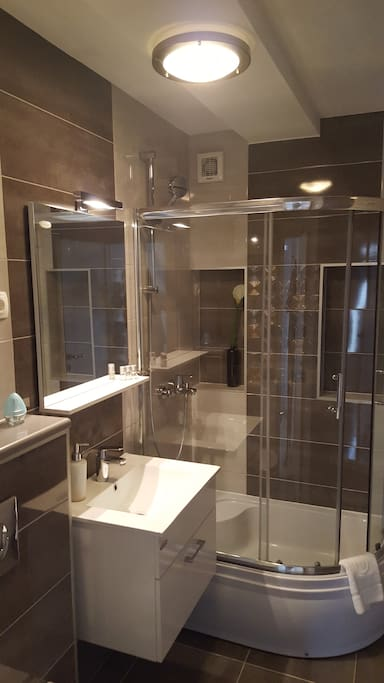 apartament with terase  bathroom