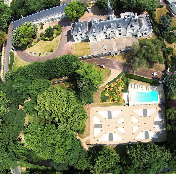 Aerial view of the Chateau des Sablons.