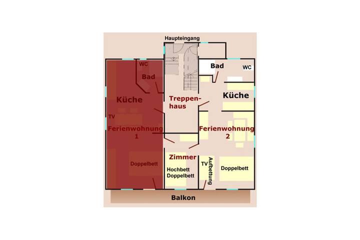 Grundriss FEWO 2 (Ferienwohnung 1 bis 6 Gäste; 37 qm; Balkone sind noch im Bau)