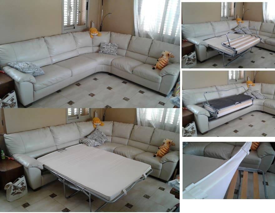 В гостиной удобный диван раскладывающийся в 2спальную кровать