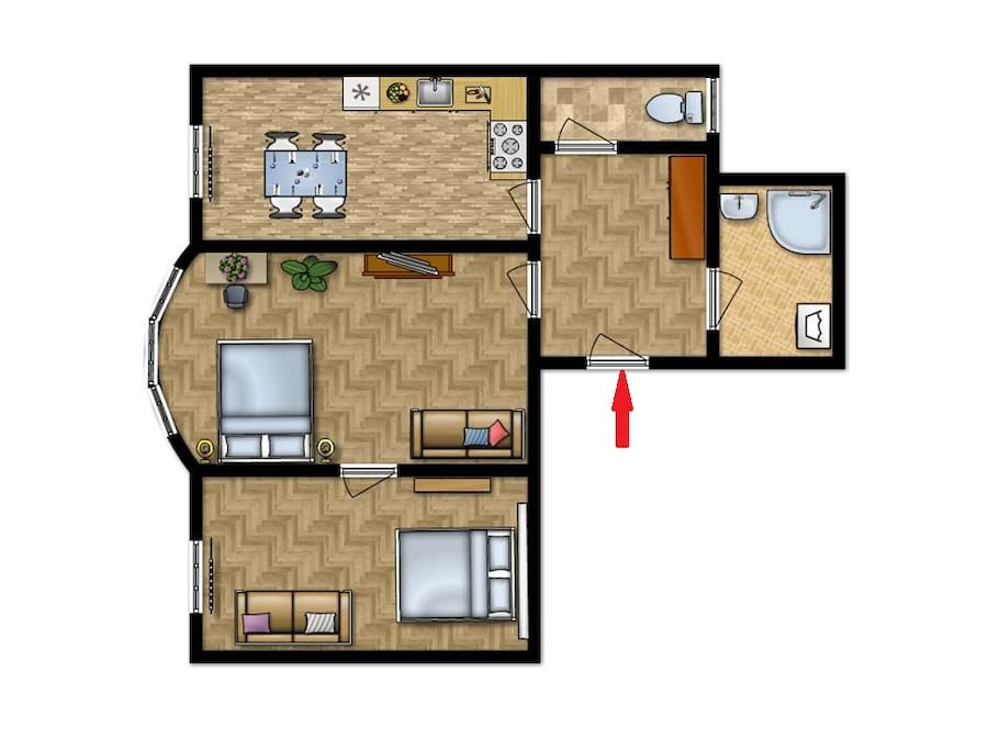 Schematic plan of apartment.