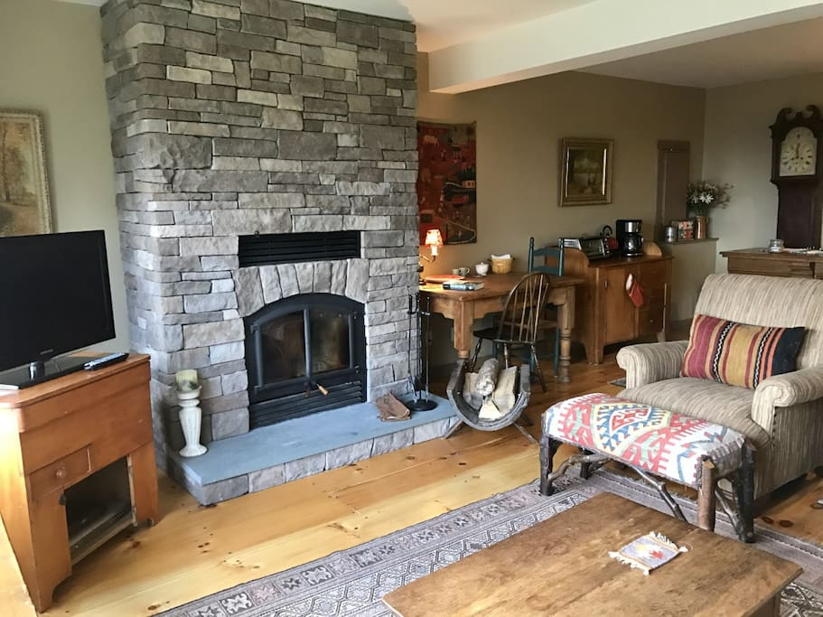 Enjoy a warm fire in the working wood stove