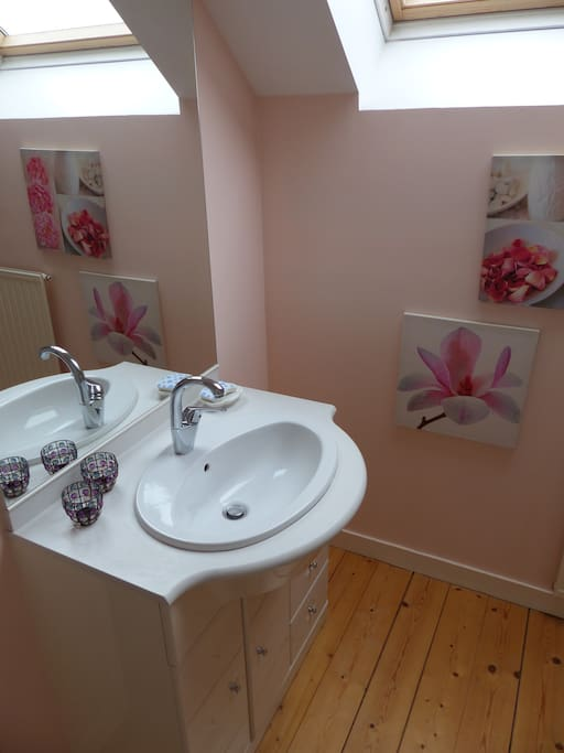 Salle de bains, avec vasque, douche + wc à l'étage