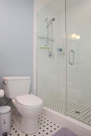No icky shower curtains here...all glass and all new.