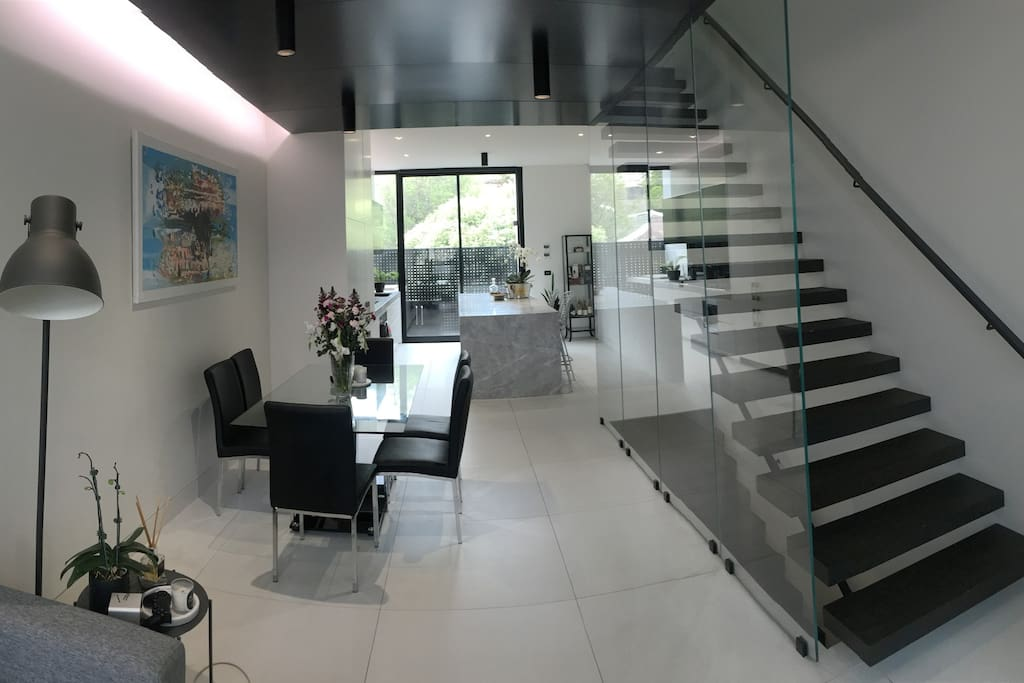 Dining Area + Kitchen + Staircase