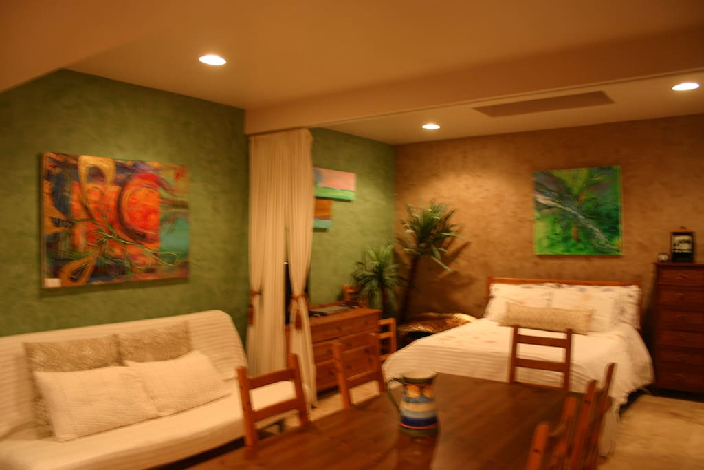 Studio Guest house with queen bed and queen sleeper and extra futon on request, kitchenette, dining table, CABLE flat screen tv and internet,full bathroom and courtyard, lively colors, owner artist foe finish walls and painting, casa mexico feeling.