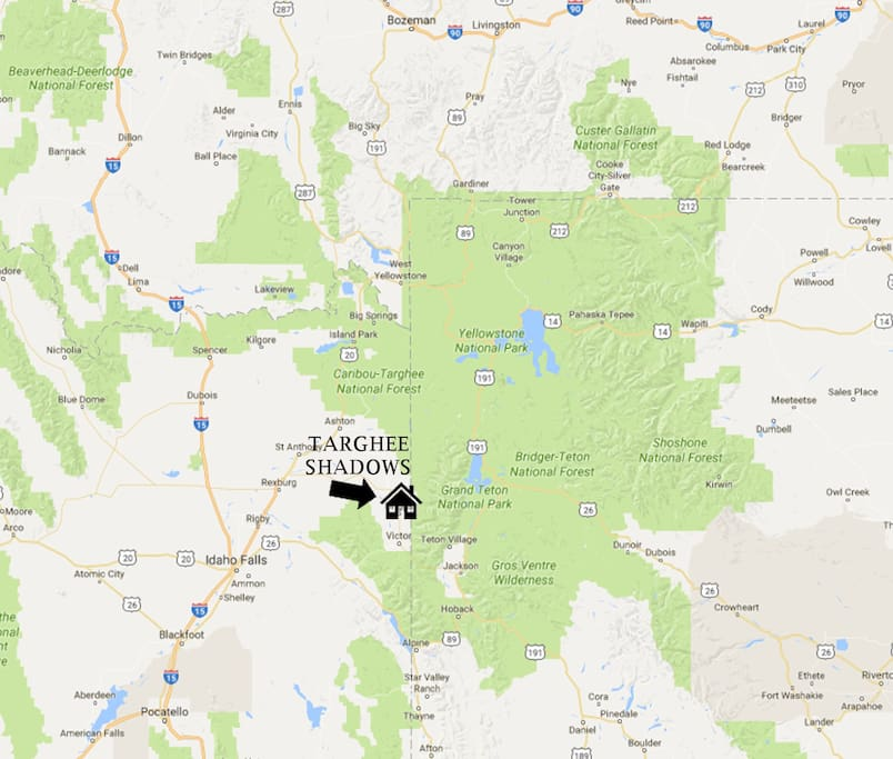 Here is where Targhee Shadows is in correlation to the national parks