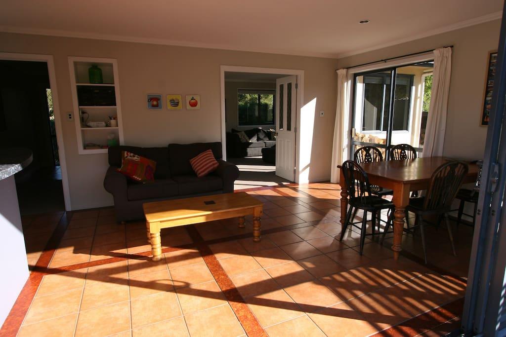 open plan kitchen, living, dining