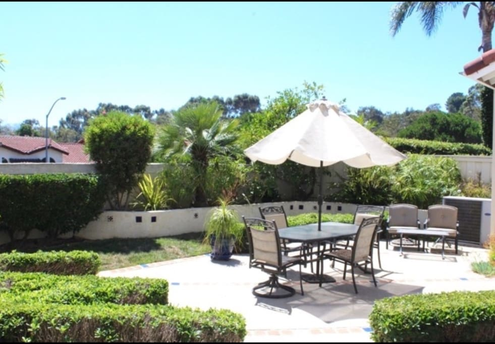 Awesome outdoor space for relaxing in sunny San Diego.  That's a lime tree in the center!
