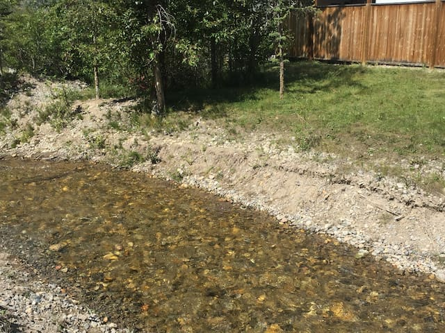 Walk across the shallow Windermere Creek to a private slice of the property for picnics and fun