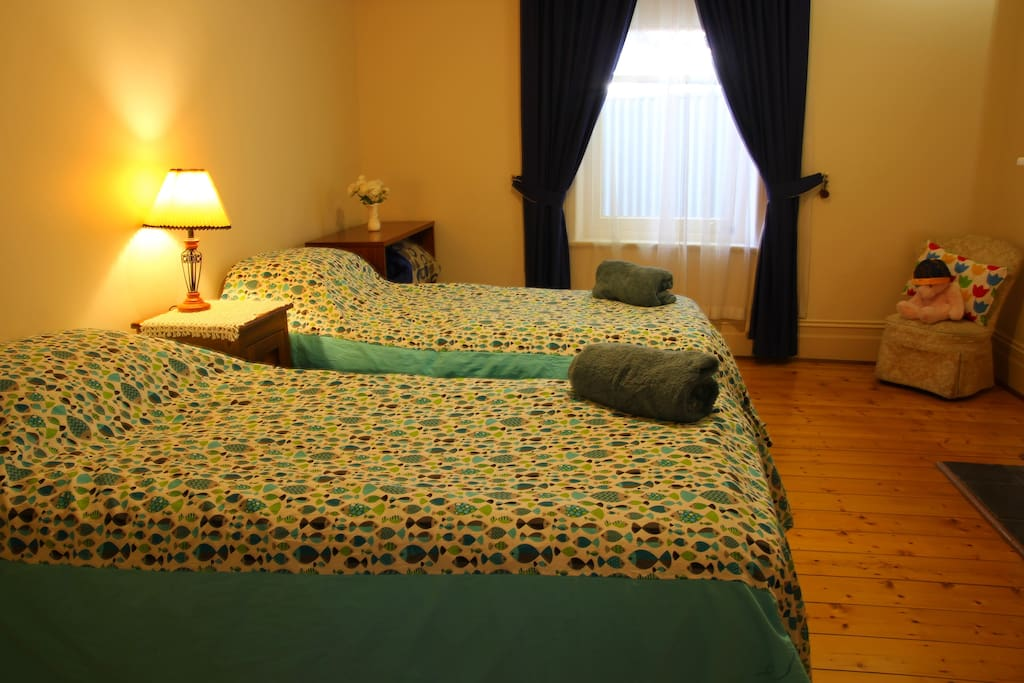 Spacious bedroom with comfortable twin beds.
