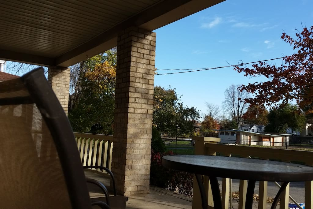 View from front porch of park & pool