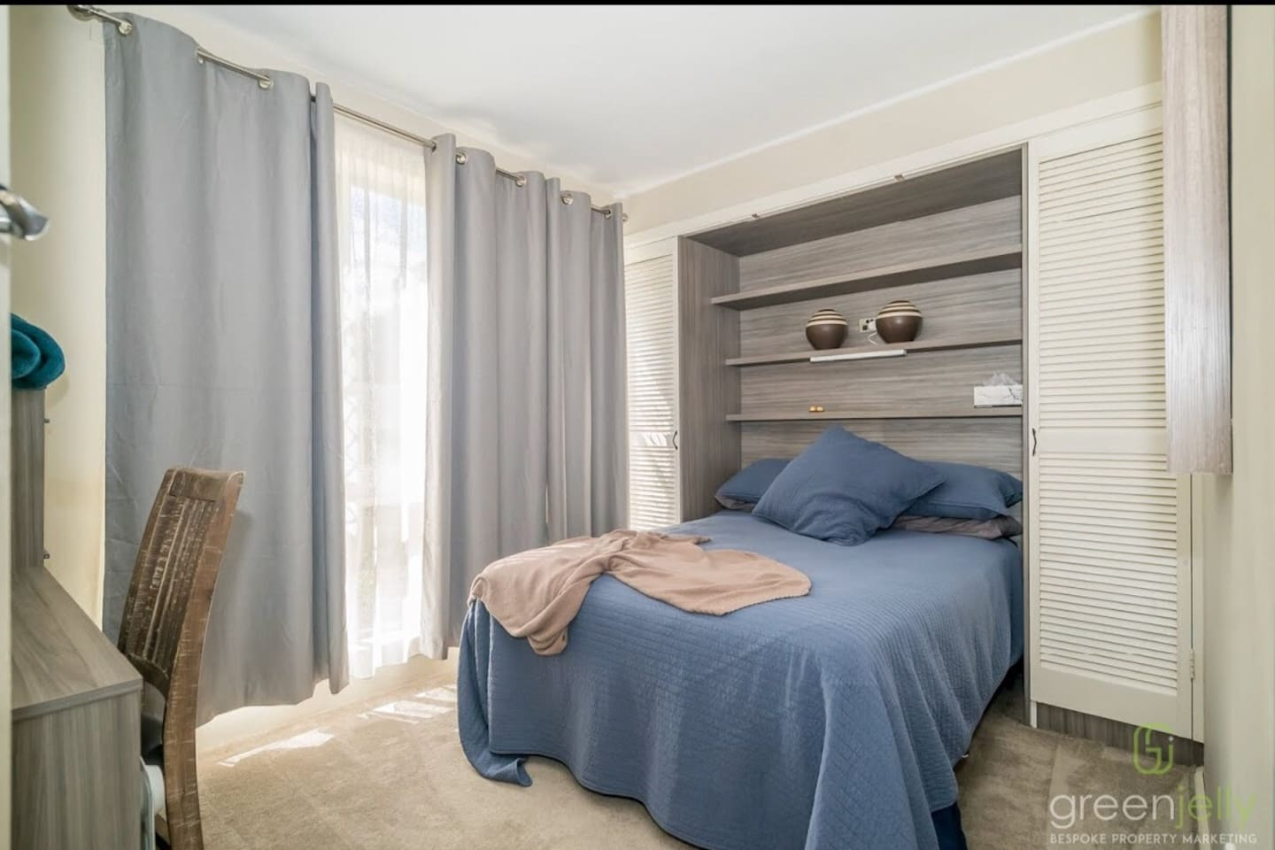 Bedroom with double bed, good quality linen with heater, fan and plush blankets for comfort.