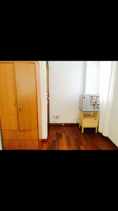 With fridge and cabinet drawer