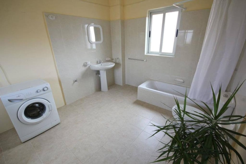 Spacious shared bathroom and use of washing machine