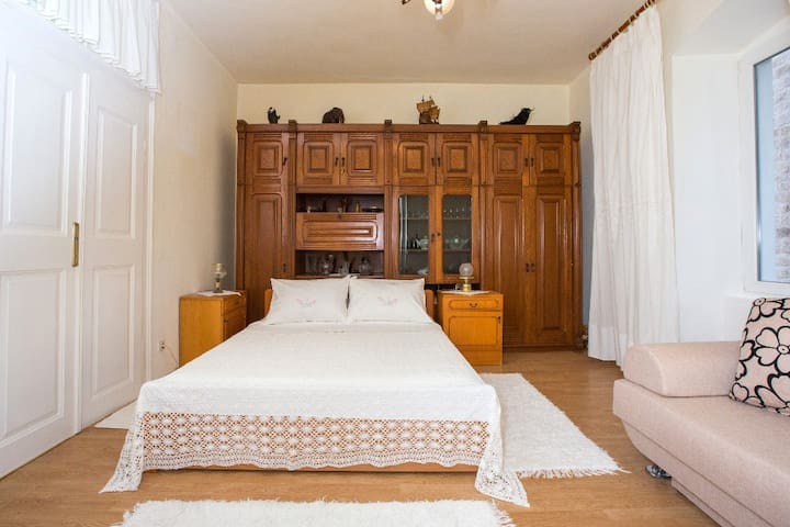 Spacious bedroom with big bed