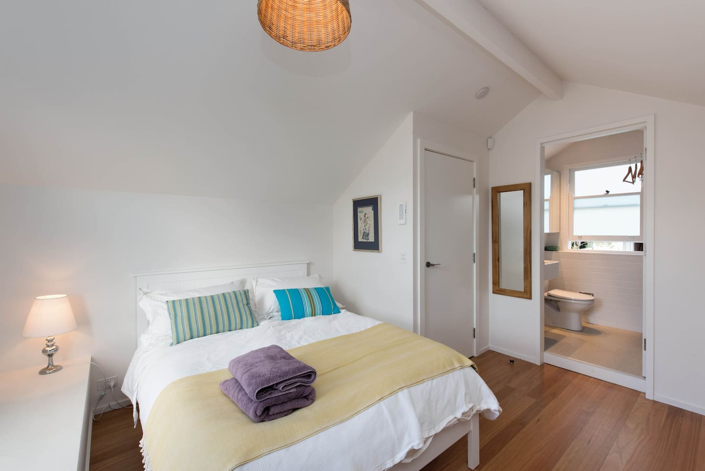 Comfortable double bed in a beautiful light and airy space