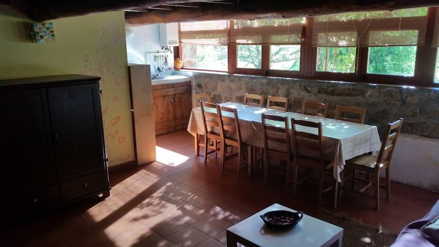 Comedor del apartamento junto al ventanal, al fondo se ve la cocina