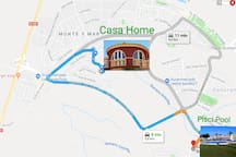 Plano distancia de la casa a la piscina - Plane distance from the house to the pool-