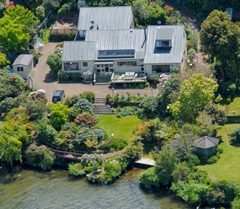 Aerial view of the house on the edge of Lake Rotorua