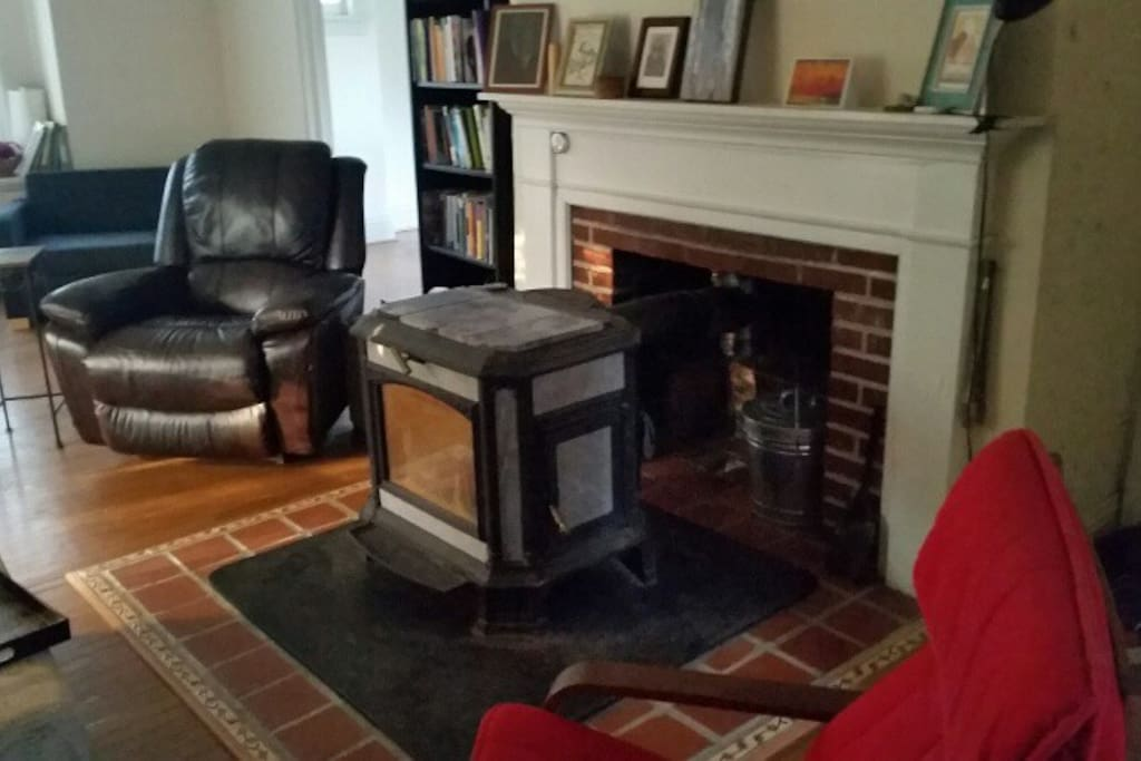 Cozy up with woodstove in winter