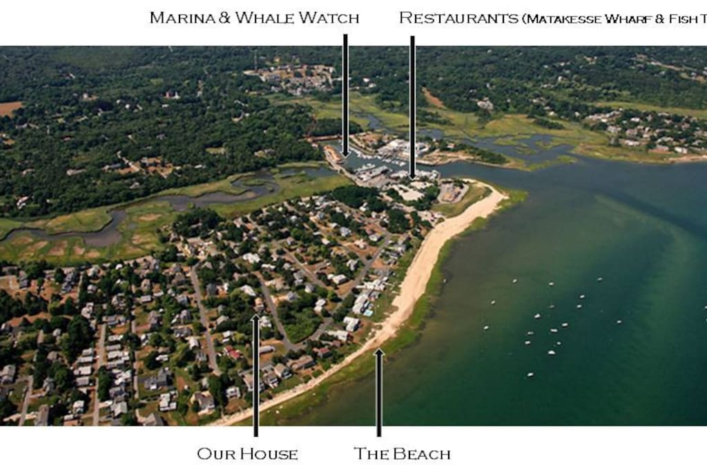 Aerial shot of the house, beach and marina