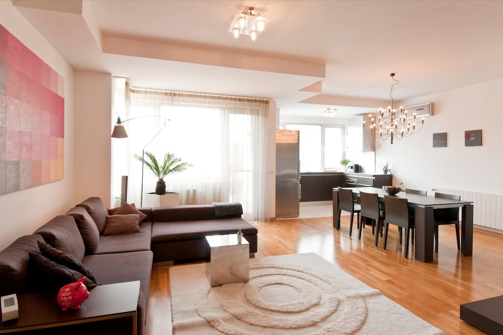 The living room is light and spacious